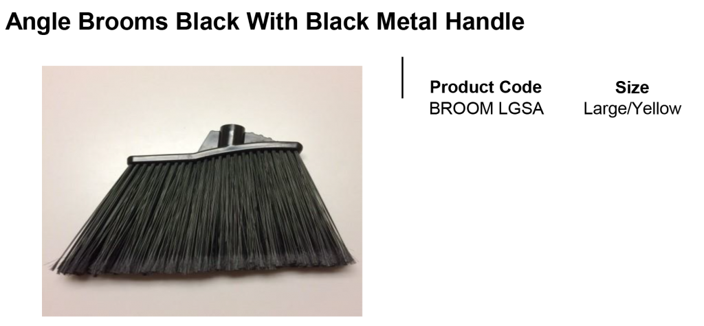 Angle Brooms Black With Black Metal Handle